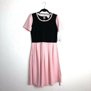 LulaRoe Amelia Dress Pink Black 10 12 Flared Color